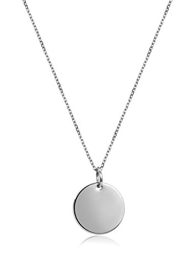 "18k Gold-Plated Round Disc Initial Pendant Necklace,18.3"" (White) (Initial 18k White Gold Pendant)"