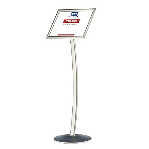 11x17 Curved Menu Sign Stand for Floor with Snap-Open Frame - Silver, Advertising Display ()