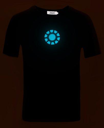 Tony Stark Light-Up Arc Reactor LED Iron Man 1 Black T Shirt–Size M