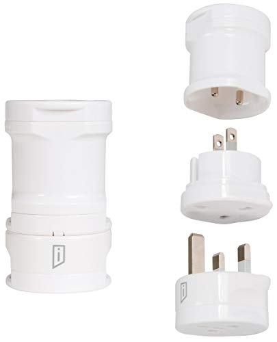 iStore World Travel Electrical Adapter Kit, 3-Tip Pack, 10 Amp, White (APK0102CAI)