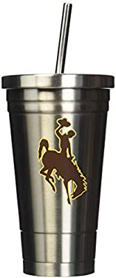 NCAA Wyoming Cowboys 17oz Double Wall Stainless Steel Thermo Tumbler with Straw