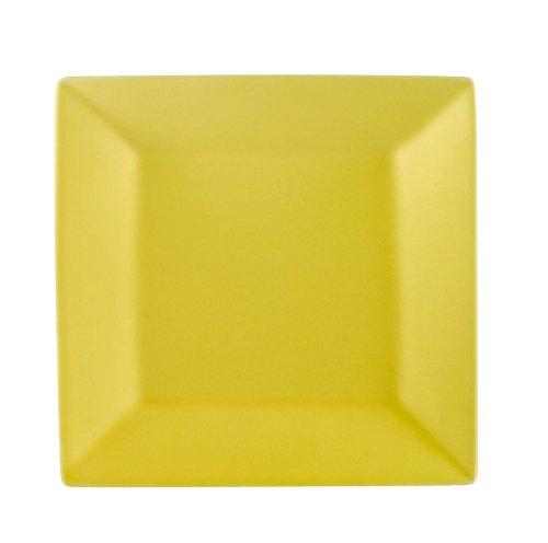 CAC China KC-8-SFL Color Arts 8-Inch Stoneware Square Plate, Sun Flower, Box of - Yellow Plate Flowers