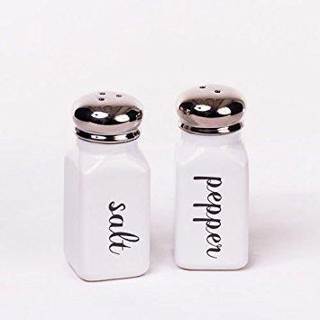 (Classic Vintage Style Black and White Ceramic Salt & Pepper Shaker Set)