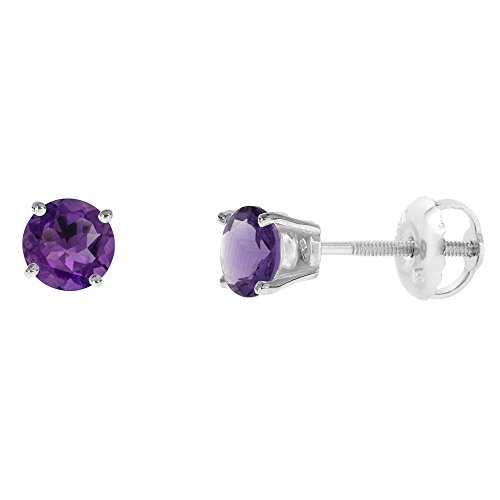 4mm 14k White Gold Natural Amethyst Stud Earrings Screw Back Round 0.5 ()