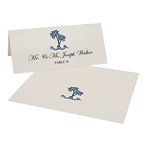 Paisley Palm Tree Easy Print Place Cards, Champagne, Set of 75 (19 Sheets) - Tree Place Card