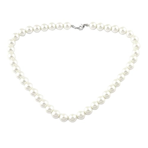 Clasp Round Bead Bridal Jewelry Faux Pearl Choker Bib Necklace (Metal Faux Pearl)