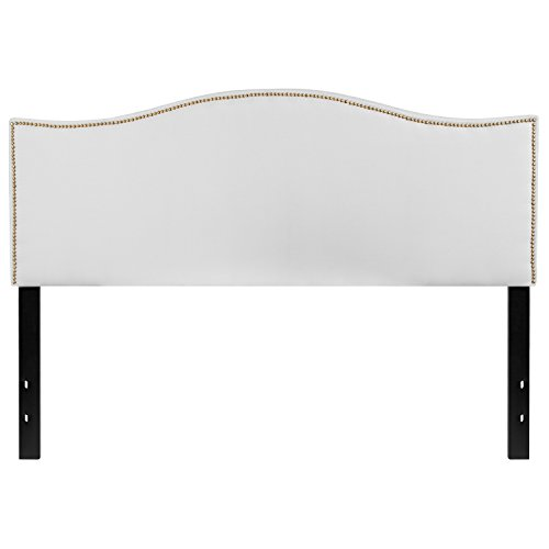 Flash Furniture Lexington Upholstered Queen Size Headboard with Decorative Nail Trim in White Fabric (Tufted With Trim Nailhead Headboard)