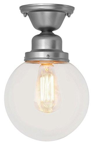 Vintage Reproduction Ceiling Light Polished Chrome w/ Marconi Bulb Filament Bulb