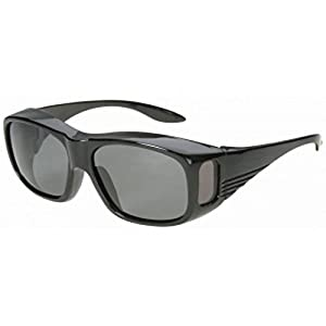 Men and Women Unisex Polarized Sport Fit Over Sunglasses - Wear Over Prescription Glasses. Size Medium. Black with Grey Lens (Carrying Case Included)
