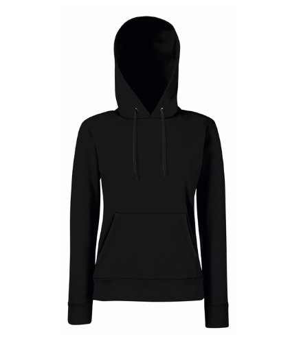 Fruit of the Loom Lady-fit Hooded Sweat - Black - XS