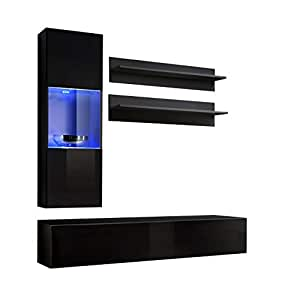 Conjunto Muebles de salón Colgantes Nora Negro Modelo H3 con ...
