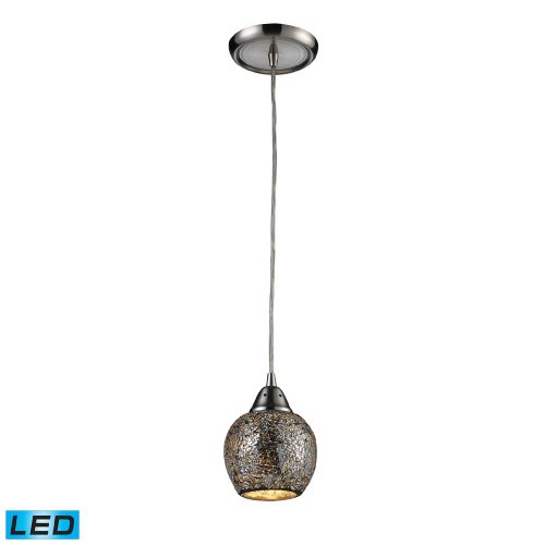 Elk 10208/1SLV-LED Fission 1-LED Light Pendant with Silver Glass Shade, 5 by 7-Inch, Satin Nickel Finish