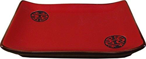 DOPPELGLÜCK [ schwarz/rot ] Essteller [ 19.2x13.8cm ] Sushi-Teller