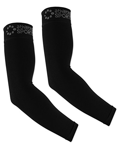 Athletec Sport Compression Arm Sleeve (20-30 mmHg) for Basketball, Baseball, Football, Cycling, Golf, Tennis, Arthritis, Tendonitis - Size Large/X-Large in Black (One Pair) ()