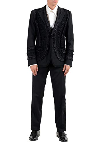 Dolce & Gabbana Three Button Suit - Dolce & Gabbana Men's Wool Black Two Button Three Piece Suit US 42 IT 52