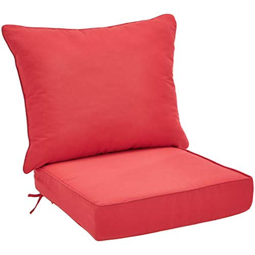 Chair Seat Cushion Deep - AmazonBasics Deep Seat Patio Cushion- Red