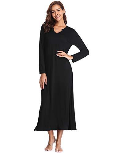 Lusofie Long Nightgowns for Women V Neck Long Sleeve Sleepwear Knit Nightdress (Black, S)