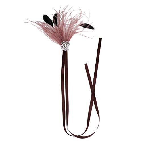 Brown Feather Flapper 1920s Headband Great Gatsby Wedding Headpiece Silver