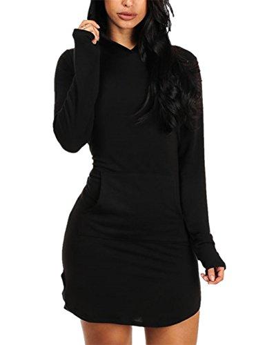 Sidefeel Women Long Sleeve V Neck Cotton Sweat Hoodie Dress Small Black1 (Hood Dress)
