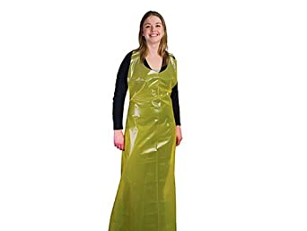 """Superior A4YPD6137 Polyethylene Heavy-Duty Apron, Disposable, 61"""" Length x 37"""" Width x 4 mil Thick, Yellow"""