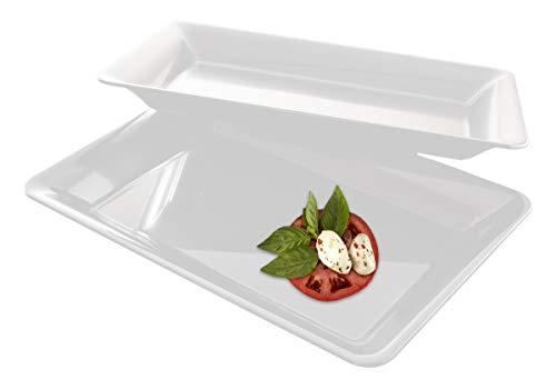 (5 Rectangle White Plastic Trays Heavy Duty Plastic Serving Tray 10