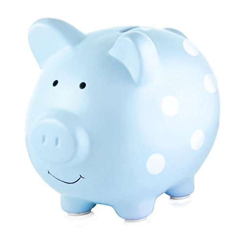 Blue Coin - Pearhead Ceramic Piggy Bank, Makes a Perfect Unique Gift, Nursery Décor, Keepsake, or Savings Piggy Bank for Kids, Blue Polka Dot