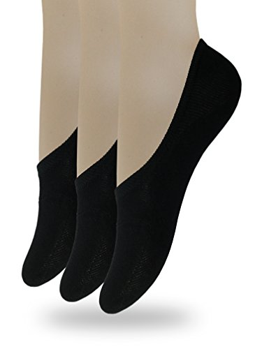 Eedor Women's 3 Pack Thin Casual No Show Socks Non Slip Flat Boat Line Black