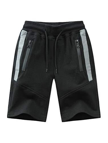 Mallimoda Boy's Knit Cotton Sweatpants Casual Sport Drawstring Waist Trousers Short Style 1 Black 13-14 Years