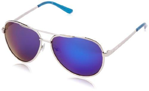 BCBG Women's B821 Aviator Sunglasses,Metallic Blue,59 - Bcbgmaxazria Sunglasses