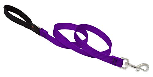 """LupinePet Basics 3/4"""" Purple 6-foot Padded Handle Leash for Medium and Larger Dogs"""