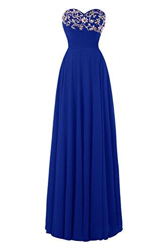Bess Femmes De Mariée De Perles D'une Ligne À Lacets Dos Robes De Bal En Mousseline De Soie Bleu Royal