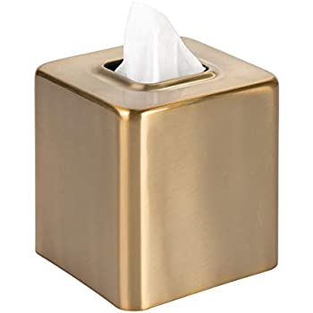 mDesign Modern Square Metal Paper Facial Tissue Box Cover Holder for Bathroom Vanity Countertops, Bedroom Dressers, Night Stands, Desks and Tables - Soft Brass