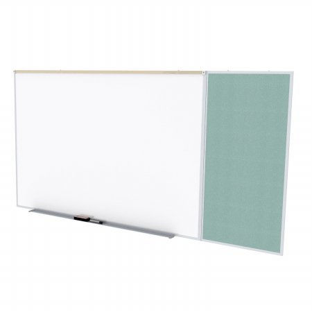 Ghent SPC416C-V-199 4 ft. x 16 ft. Style C Combination Unit - Porcelain Magnetic Whiteboard and Vinyl Fabric Tackboard - Stone by Ghent