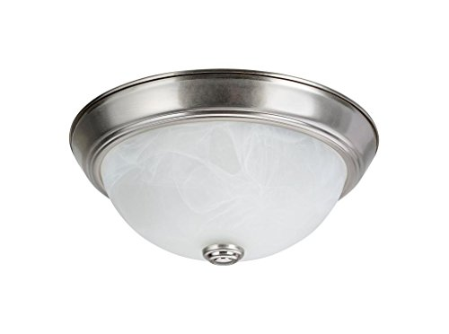 Flush Two Light (Aspen Creative 63013-1 Two-Light Flush Mount In Brushed Nickel with White Alabaster Glass Shade)