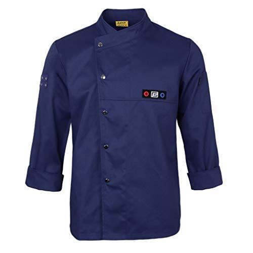 (Prettyia Unisex Chef Jacket Waiter Suit Coat Long Sleeves Chef Uniform - Blue, L)