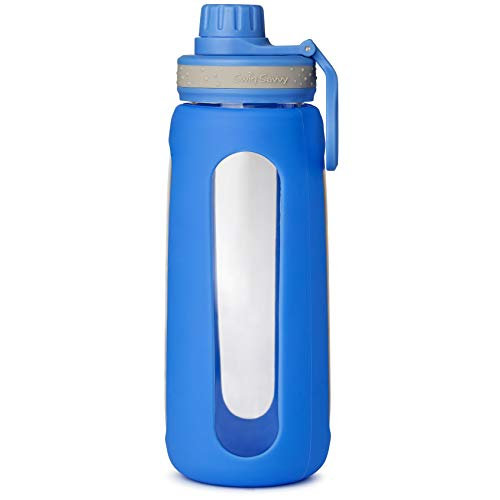 SWIG SAVVY Glass Water Bottles with Protective Silicone Sleeve & Stainless Steel Leak Proof Lid - Stylish Design Wide Mouth Reusable Drinking Container - BPA & Plastic Free (Blue)