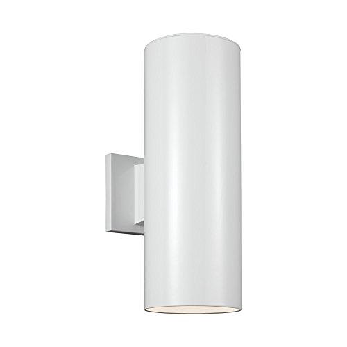 Finish Pack Fan (Sea Gull Lighting 8413891S-15 Outdoor Cylinders LED Wall Lantern with Glass Diffuser, White Finish)