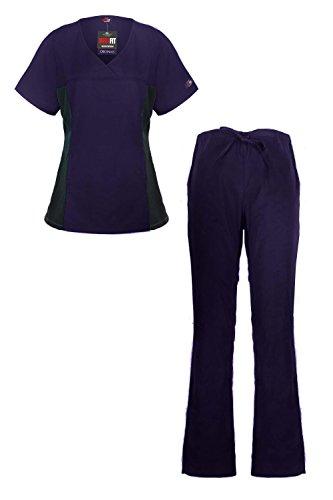 MediFit Women's Mock Wrap Medical Top & Pants Scrub