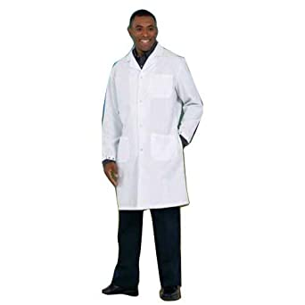 41 Length Small Worklon 439S Polyester//Cotton Lab Coats with Convertible Collar White