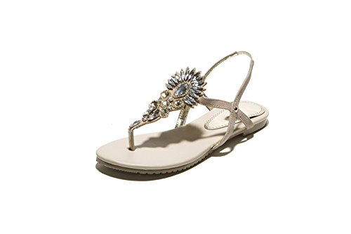 AmoonyFashion Womens Soft Material Elastic Split-Toe Low-heels Solid Sandals Apricot juNzodhWs