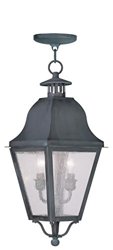 Outdoor Pendants 2 Light Amwell with Seeded Glass Charcoal Size 9 in 120 Watts - World of Crystal