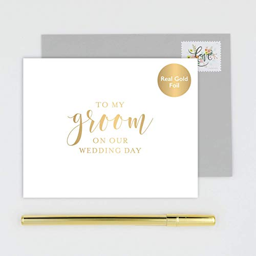 To My Groom on Our Wedding Day Card for Husband, Handmade White Card Stamped with Gold Foil - Calligraphy Design with Gray Envelope (Letter To My Mom On My Wedding Day)