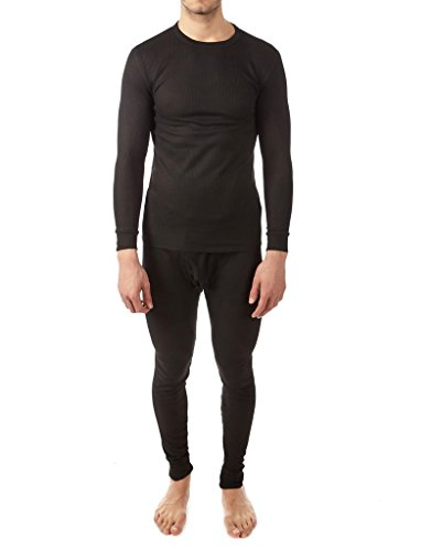 Vertical sports men's Waffle-knit Thermal set(2 piece) (Black, Medium)