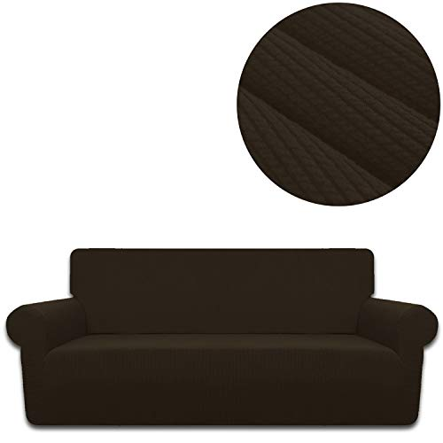 ANJUREN Sofa Loveseat Couch Chair Slipcover Cover 1 Piece 4 Seater T Cushion Large Sofa Couch Slip Cover Shield Protector Stretch Stripes Spandex Living Room Furniture Covers (XL Sofa, Coffee)