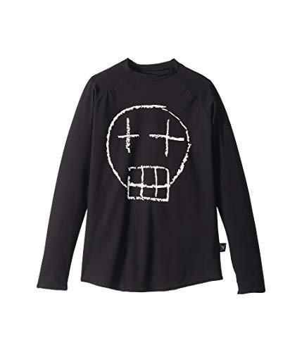 (NUNUNU Boy's Sketch Skull Long Sleeved Rashguard (Little Kids/Big Kids) Black 10/11 Years)