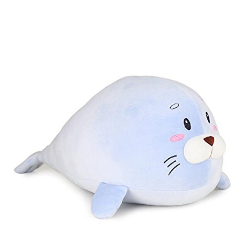 Baby Novelty Toy Seal Soft Plush Pillow Animal Stuffed Toy Gift 45cm(bluee)