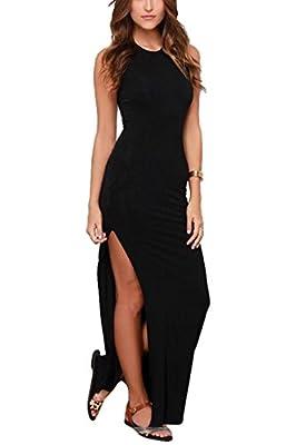Meenew Women's Sleeveless Bodycon Beach Tank Sundress High Split Long Maxi Dress