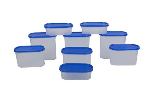 Cutting Edge Modular Containers Oval Set for Rice | Dal |Atta | Flour | Cereals | Pulses | Snacks, Stackable Set of 9 (3 Each Size) – Blue Lids Price & Reviews