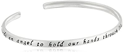 "Sterling Silver ""God Sends An Angel To Hold Our Hand Through Life, and He Named Her Mom"" Cuff Bracelet"