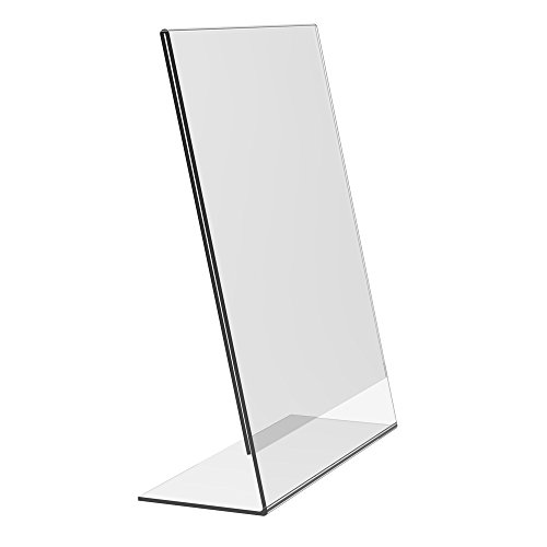Eagle Slant-Back Sign Holder, 8.5 X 11 Inches, Clear Acrylic, Side Insert, Pack of 4 by Eagle (Image #1)